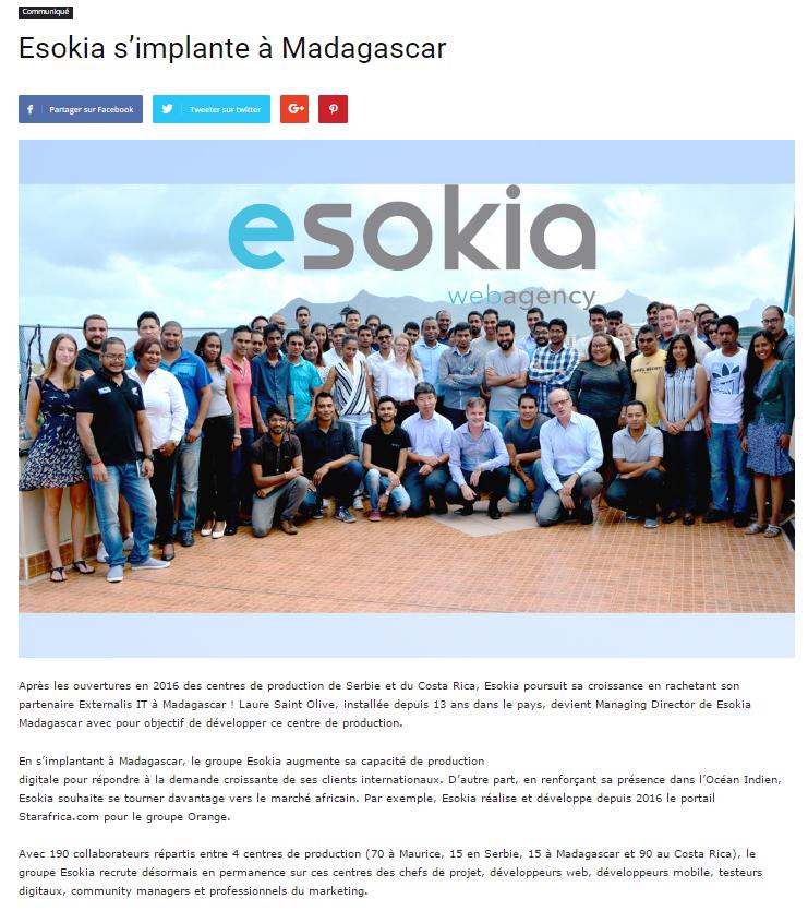 esokia s'implante à Madagascar